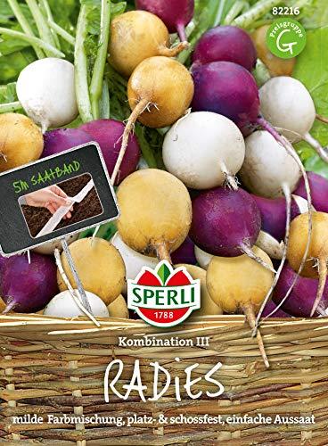Radieschen Kombination 3 | Zlata, Viola, Albena | 5m Saatband für rund 250 Radieschen Samen