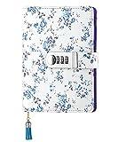 Ai-life PU Leder Wieder Auffüllbar Zahlenschloss Tagebuch Schreiben Notebook Planer Organizer, Flora-Muster Loses Blatt Passwort Tagebuch Notizblock mit Stift halter Kartenfächer(185x135mm)