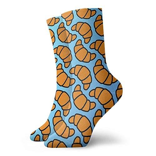 QUEMIN Calcetines con patrn de croissant, calcetines cortos deportivos clsicos, adecuados para hombres, mujeres, calcetines deportivos, cmodos, transpirables, casuales, 30cm