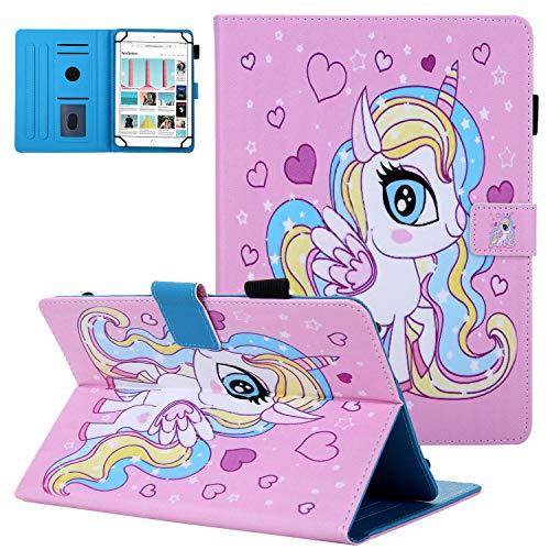 10 inch Tablet Universal Case, UGOcase Shockproof PU Leather Shell Folio Stand Case Cards Pencil Holder for iPad 9.7 2017 2018, iPad Air, iPad 2 3 4, Galaxy Tab A 10.1, Tab E 9.6, ETC, Cute Unicorn