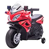 homcom Moto Elettrica per Bambini con Sirena della Polizia e Fari, velocità 3km/h e Batteria 6V Ricaricabile, 69x39x43cm, Rosso