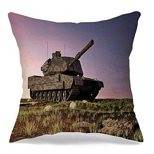 Decorative Throw Pillow Case Square Cushion Cover Abrams Heavy Field Tank Battlefield Landscape Sunset Miscellaneous Technology Armed Armor Armored Linen Farmhouse Style Pillowcase 20 x 20 Inch