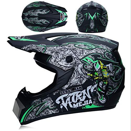 JWL Motocross Racing Helmet Mountainbike-Helm licht met bril, masker en handschoenen (Locomotief zwart en groen) mat