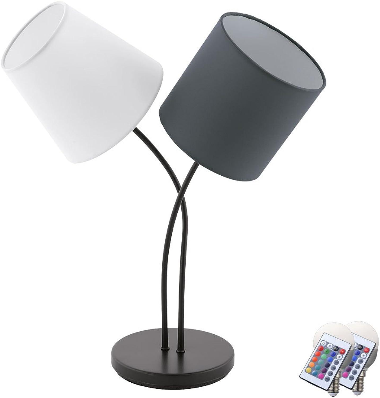 Tisch Lampe Esszimmer Lese Nacht Licht Küchen Textil Leuchte im Set inkl. RGB LED Leuchtmittel