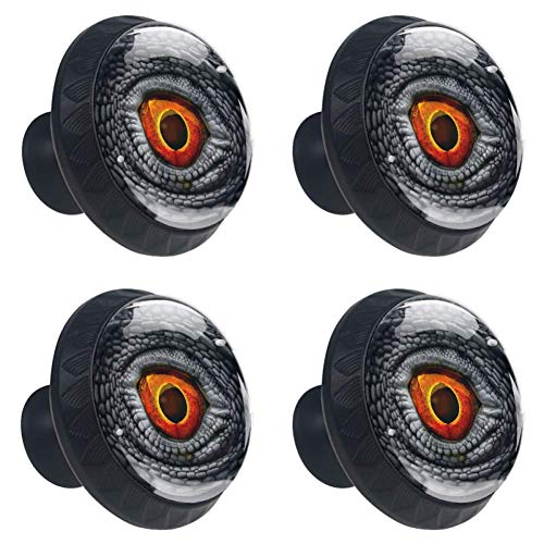 Eye of Dragon Drawer Knob Pull Handle Cupboard Knobs 4pcs Round Cabinet Handle Furniture Knobs with Screws for Home Office Kitchen Dresser Wardrobe