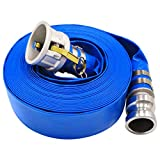1.5' x 50' Blue PVC Backwash Hose for Swimming Pools, Heavy Duty Discharge Hose Reinforced Pool Drain Hose with Aluminum Camlock C and E Fittings