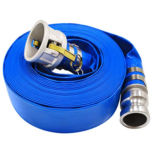 3' x 50' Blue PVC Backwash Hose for Swimming Pools, Heavy Duty Discharge Hose Reinforced Pool Drain Hose with Aluminum Camlock C and E Fittings