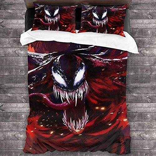 QWAS Marvel Venom - Juego de cama (100% microfibra, 1,140 x 210 cm + 80 x 80 cm x 2)