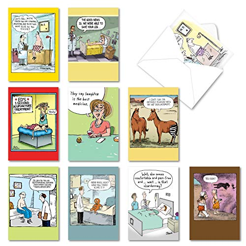 NobleWorks - 10 Assorted Get Well Cards Funny - Adult Humor, Feel Better Soon Greeting Cards, Boxed Set - Sick Jokes AC3684GWG-B1x10