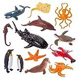 HERSITY Animaux Marins Figurines Monde Animaux de la Mer Jouet Animaux Marin Bain Cadeaux pour Enfants Garcon Fille