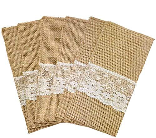 12 porta posate Amajoy da 10,2x 20,3cm, in iuta naturale, porta posate e tovagliolo a sacchetto per decorazioni da matrimonio, feste e addobbi country