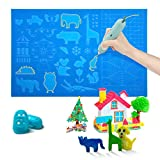 3D Printing Pen Mat Large 16.5x10.5 in Silicone Mat with Various Cute Patterns and Basic Template, 3D Pens Accessories with 2 Fingers Protectors for Kids and 3D Beginners (Pen is not Included)