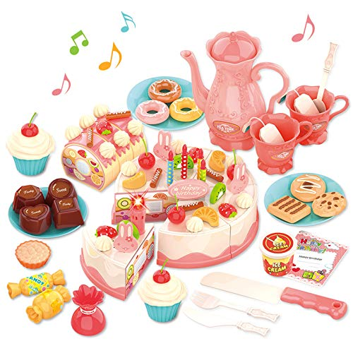 GILOBABY Pretend Birthday Cake Role Play Food Toys Tea Set for Kid toddler, Educational Kitchen toy for Children Girl Boy Gift Toy for 3-9 Year, Birthday Party Cutting Cake Toys, Light&Music&Sound