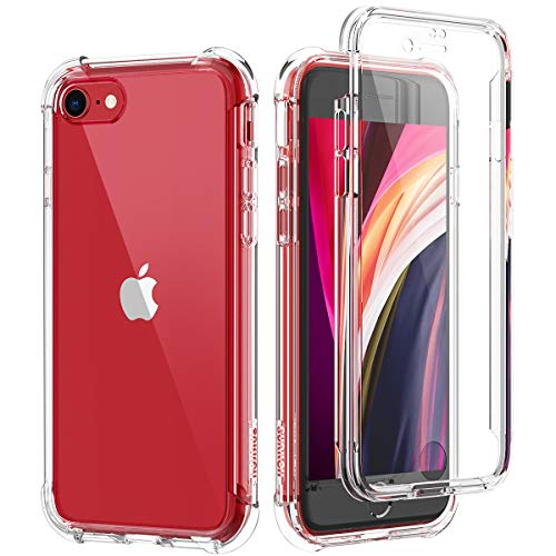 SURITCH Coque iPhone Se 2020 iPhone 7 iPhone 8 360 Degré Transparente Antichoc Silicone Bumper [Ultra Hybrid] Integrale Anti-Rayures Full Body Protection Etui Housse - Clair