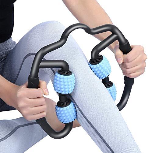 VITOP マッサージローラー 筋膜リリース トリガーポイントマッサージ - 腰痛・肩コリ・筋肉痛を改善 ストレッチ フィットネス 脚やせ グリッドフォームローラー ヨガポール(青)