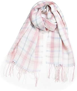 WUNONG-AU Imitation Cashmere Color Double-Sided Plaid Increase Keep Warm Shawl Autumn Winter Fringed Scarf (Color : Pink, Size : 200cm)