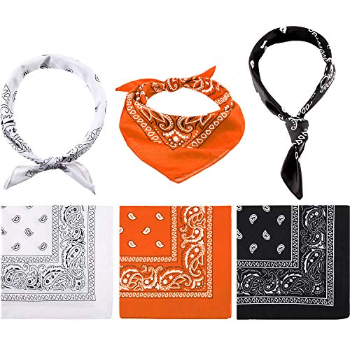Paisley Bandanas Cowboy Bandanas Unisex Novelty Print Head Wrap Scarf Wristband for Adults and Kids … (Orange, White and Black, 6 Pieces)