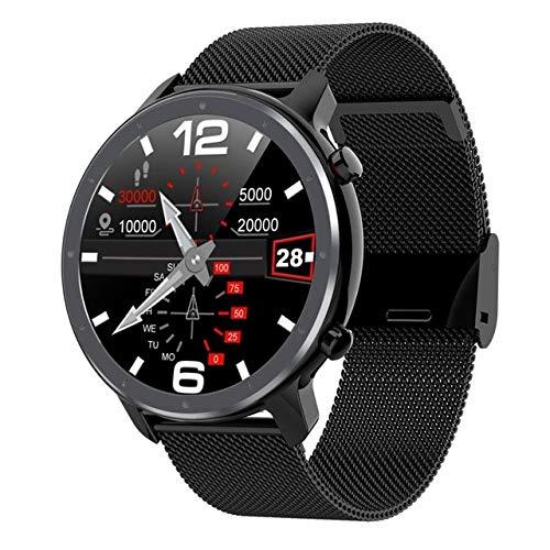 wjwang Reloj Inteligente Hombre Mujer Pantalla Táctil Redonda Completa ECG Frecuencia Cardíaca Pantalla Meteorológica Smartwatch Android iOS L9 Dt78 Negro Negro Metal