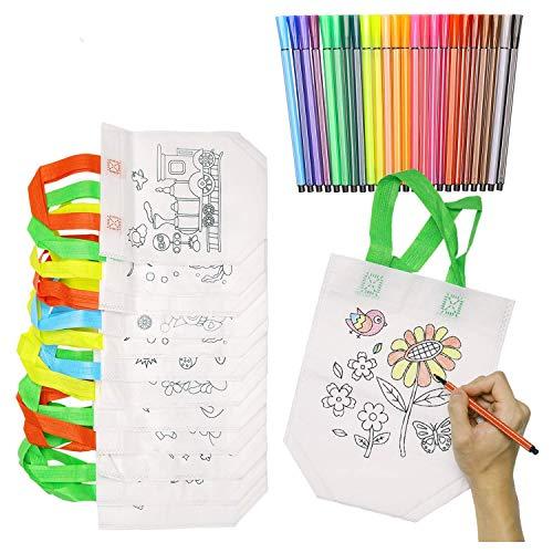 KATELUO DIY Kinder Stoffbeutel Set,12stück Non-Woven-Tasche Zum Selber bemalen,24 Farbe Aquarell Stift für Kinder, DIY Graffiti Taschen Ideal für Geburtstagsfeier Geschenke(12 Pack+24 Farbe)
