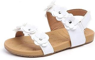 553764126 Komfyea Girls  Open Toe Beach Sandals Summer Fashion Flat Flower Sandals  Princess Flats Sandals