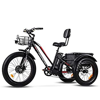 Addmotor Motan Electric Tricycles 24  Fat Tire Electric Trike 750W 16Ah Panasonic Lithium Battery 3 Wheel Electric Bicycle Trike Rear Basket Cargo M-350 P7 Ebikes Cruise Trike with Supension Fork