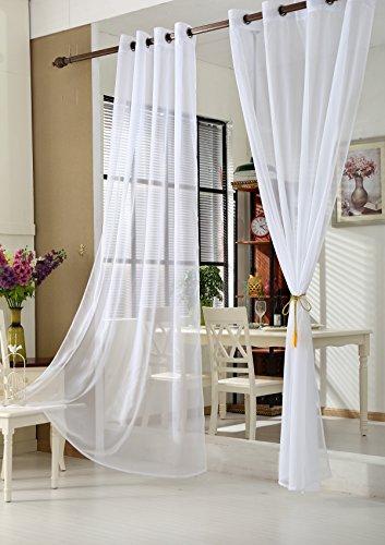 WOLTU VH5513ws-2, 2er Set Gardinen Vorhänge transparent mit Ösen Stores, Doppelpack Ösenvorhang Fensterschal Voile für Wohnzimmer Schlafzimmer Landhaus, 140x225 cm Weiß