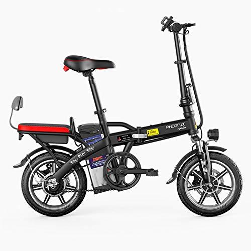 LILIJIA Aleación Magnesio Eléctrica 14'240w Ebikes Bicicletas Todo Terreno,48v 13ah Batería Extraíble Iones Litio Mountain Ebike,para Desplazamientos en La Ciudad Ciclismo Al Aire Libre,Negro,48V70km