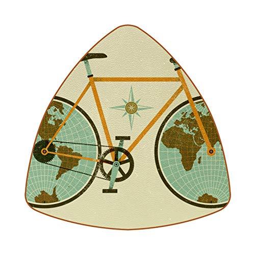 Juego de 6 posavasos triangulares para bebidas con diseño de mapa del mundo retro con bicicleta de cuero para proteger muebles, resistente al calor, decoración de bar de cocina