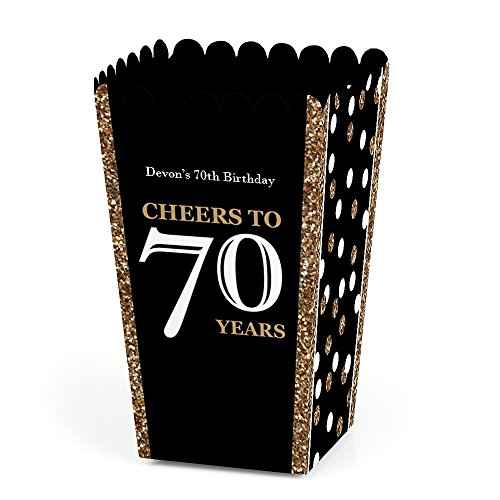 Big Dot of Happiness Personalized Adult 70th Birthday - Gold - Custom Birthday Party Favor Popcorn Treat Boxes- Custom Text - Set of 12