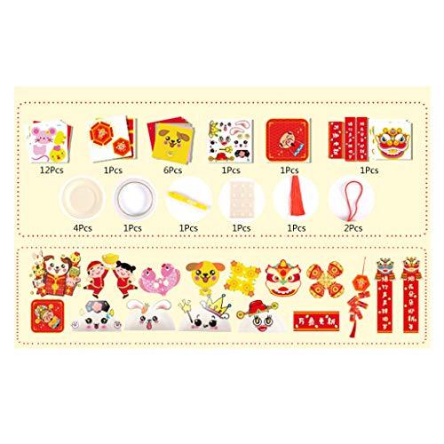 yasu7 36 Stücke von Lunar Neujahr 2021 Dekorationen, einschließlich Frühling Festival Paare Set Frühling Paare Papier Rote Laternen Kuh Rote Umschläge