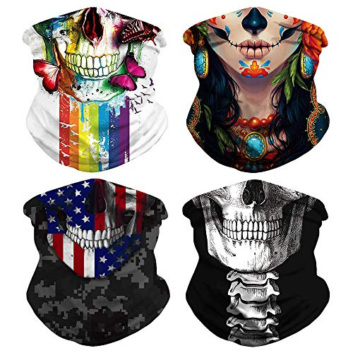 Skull Face Mask Seamless Bandana for Men Women Dust Wind Neck Gaiter,Tube Mask Headwear, Scarf for Outdoors (Color 3)