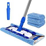 Mr. Siga professional microfiber mop (included 3 microfiber cloth refills and 1 dirt removal scrubber), pad size: 42cm x23cm