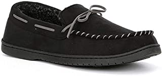 Roundtree & Yorke Men's Whipstitch Moccasin Slippers, Black (S 7-8)
