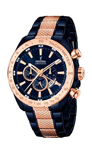 Festina Herren Chronograph Quarz Uhr mit Edelstahl beschichtet Armband F16886/1