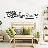 Tianpengyuanshuai Indian Yoga Studio Just Breathing Meditation Buddista Lotus Girl Wall Sticker Vinyl Room Decoration -56x13cm
