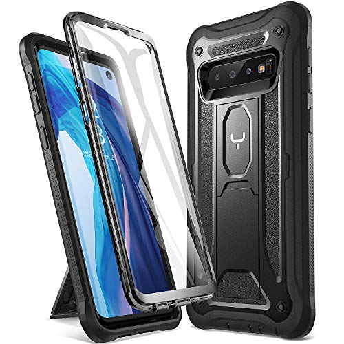 YOUMAKER Case for Galaxy S10, Kickstand Case with Built-in Screen Protector Heavy Duty Protection Shockproof Full Body Slim Fit Cover for Samsung Galaxy S10 5.8 inch (2019 Release) - Black