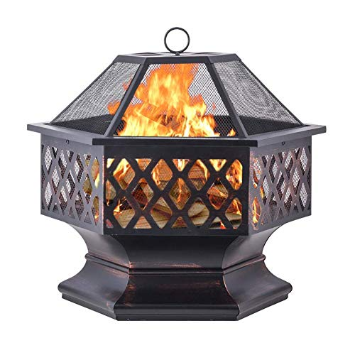 ZDYLM-Y Outdoor Metal Fire Pit with Mesh Screen and Poker, Fireplace Patio Backyard Heater Fire Bowl, for Outdoor Camping Patio