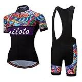 Uriah Women's Cycling Jersey Bib Shorts Sets Short Sleeve Reflective Retro Paint Size M(CN)