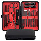 Manicure Set, Esup 19 in 1 Stainless Steel Professional Pedicure Kit Nail Clippers Grooming Kit with Leather Travel Case, Perfect Christmas Gifts for Women and Men