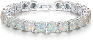 CiNily Created Blue White Fire Opal Rhodium Plated for Women Jewelry Gems Round Bracelet
