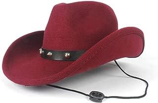 AU-KANGSHUAI Winter Outdoor Casual Hat Men Women Wool Western Cowboy Hat With Punk Rivet Wide Brim Hat Size 56-58CM