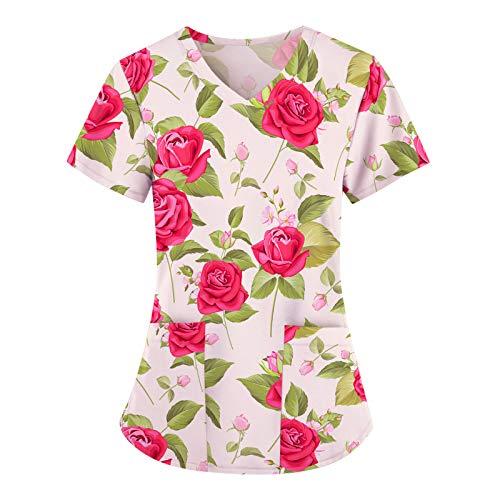 UNHU Kasack Damen Pflege Bunt Arbeitskleidung Uniformen V-Ausschnitt Schlupfhemd Berufskleidung Blume Bedruckt Nurse Kurzarm Bluse T-Shirts Schlupfkasack mit Taschen (Pink, XXL)
