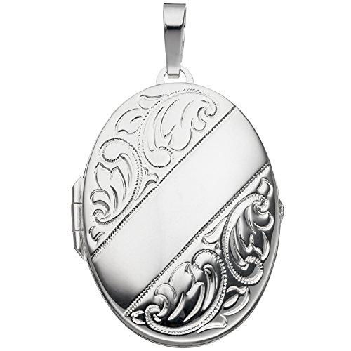 JOBO Damen-Medaillon aus 925 Silber Oval zum Öffnen für 2 Fotos