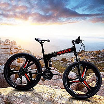 Folding Mountain Bike,26 inch 21 Speed Carbon Steel Mountain Bicycle for Adults,Full Suspension Disc Brake Outdoor Bikes for Men Women (Black-A)