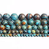 6mm Natural Blue Malachite Round Blue Beads Blue Gemstone Beads Bulk for DIY Jewelry Making Adults 1 Strand/Bag (6MM, Blue Malachite)
