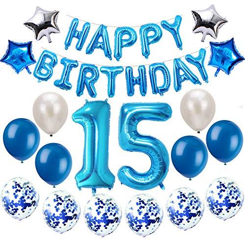 Oumezon 15 Geburtstag Dekoration Blau, 15 Geburtstag deko für Mädchen Jungen Happy Birthday Girlande Banner Folienballon Konfetti Luftballons Deko Geburtstag Party Anzahl Ballons