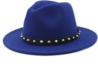2019 Mens Womens Hats Womens Fashion Winter Fedora Hat for Women Lady Outdoor Sun Beach Hat Travel Pop with Punk Rivet Panama Jazz Hat Wide Brim Jazz Hat Size 56-58CM (Color : Blue, Size : 56-58)