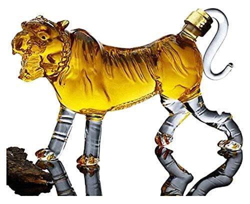 Decantador Reutilizable Whisky Decanter Wine Tiger 1000ml Fabricación de vinos Decantadores de almacenamiento Whisky Botella Dispensador Personalidad animal Jarrafica Alto Borosilicate Plomo C