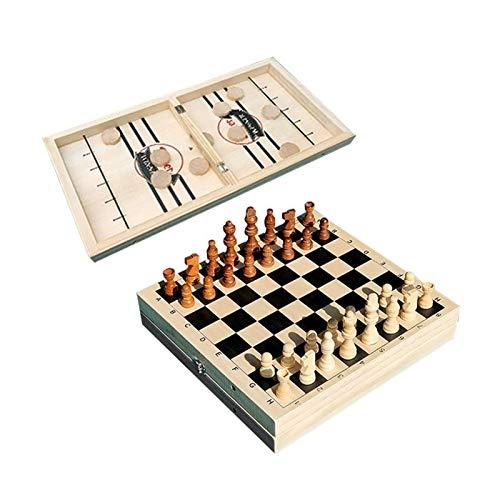 WANGZHI Ajedrez Multifuncional 2 en 1 Cheque de Madera Plegable Chess Juego Doble Juego Ejercicio Mano-Cerebro Coordinación Battle Batting Juego