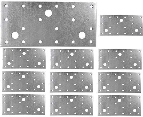 Placa de unión plana galvanizada de acero resistente, chapa de acero de 5.91 x 2.76 x 0.1 pulgadas (150 x 70 x 2.5 mm) paquete de 10 unidades